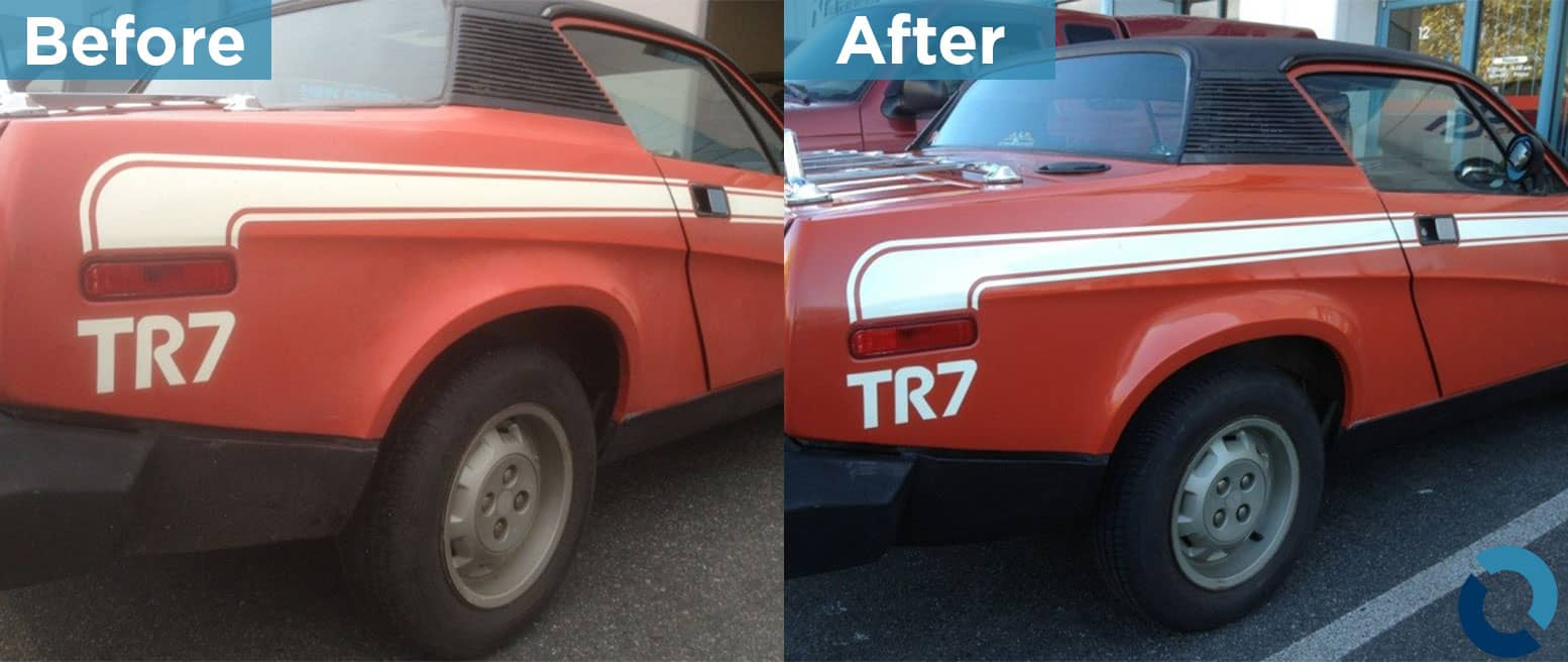 Before and after photo of an old red sports car, used on automotive restoration page