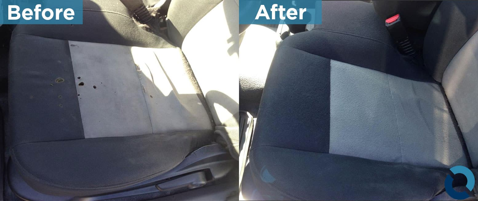 Before and after photo of black and grey car seat, used on automotive restoration page