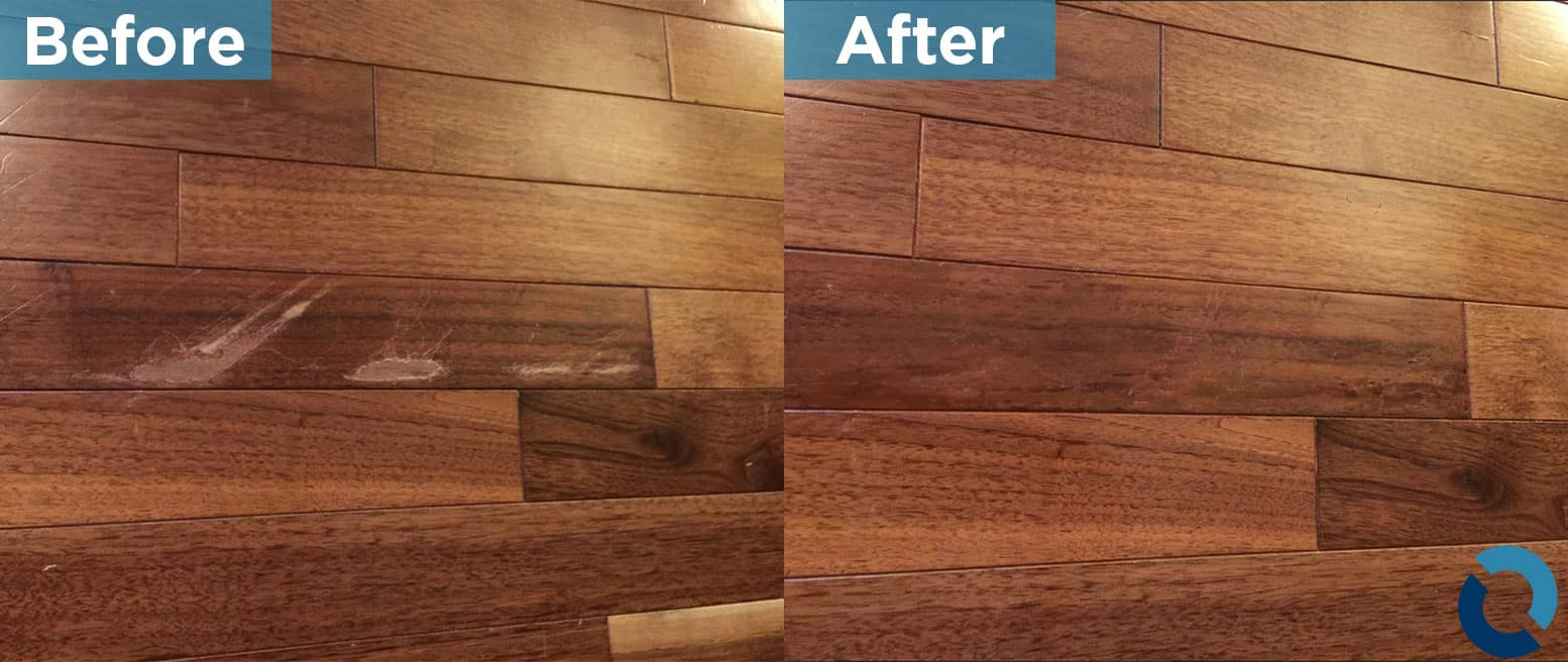 Before and after of wooden floor, used on wood restoration page